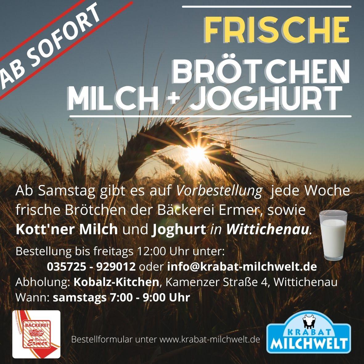 Anzeige Frische Brötchen und Frische Milch in Wittichenau